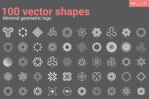 100 Vector shapes Minimal geometric