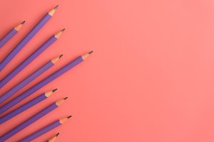Purple pencils on pink background.