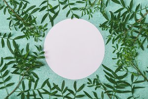 Spring or summer floral background. Round frame from twigs with leaves