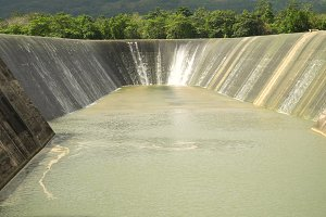 Dam on the lake, Bohol, Philippines.