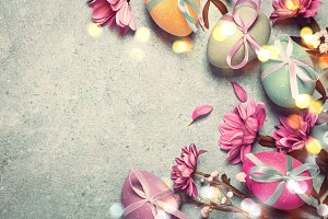 Happy Easter concept. Festive vintage background with decorated eggs
