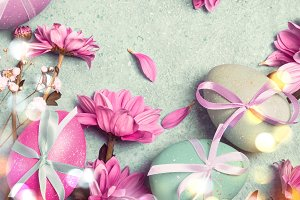 Happy Easter concept. Festive vintage background with decorated