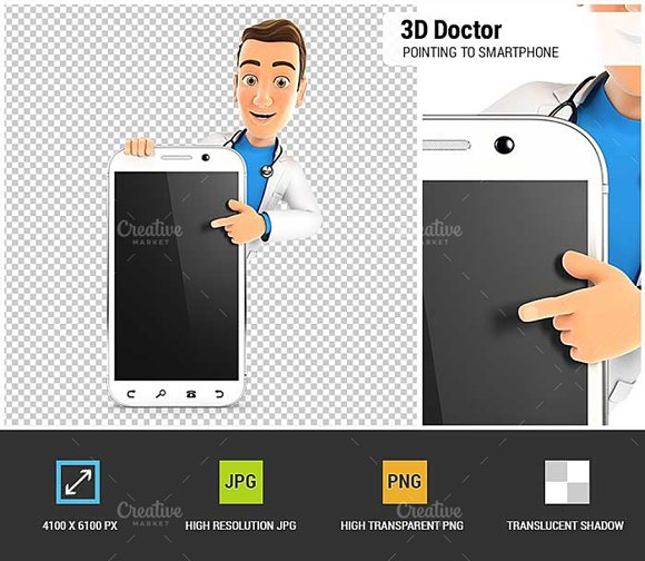 3D Doctor Pointing to Smartphone