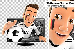 3D German Soccer Fan Television