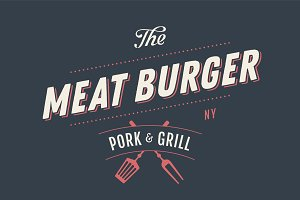 Label template of Meat Burger