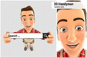 3D Handyman Holding a Search Bar