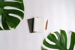 A blank notepad with green leaf.