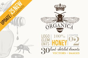 ORGANIC LOGO ELEMENTS – HONEY