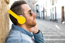 Man listening to music in the street