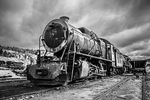 Old abandoned locomotive train