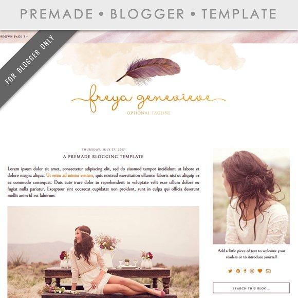 Premade Blogger Template Freya