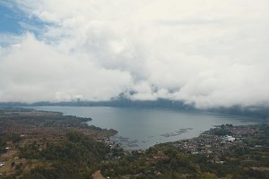 Lake in the volcano crater. Batur, Bali