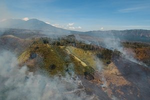Aerial view Forest fire. Jawa island, Indonesia.
