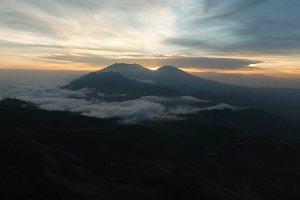 Mountain landscape with sunset. Jawa island, Indonesia.