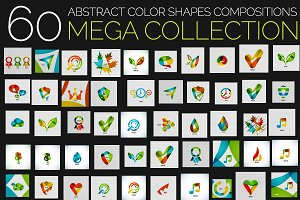 60 abstract color shapes set