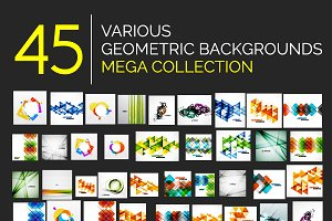 45 geometric backgrounds set