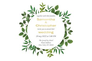 Wedding invitation with Greenery