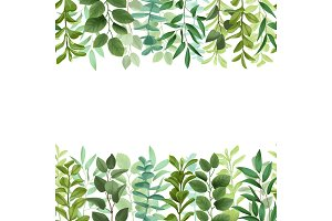 Greenery Seamless Double Border