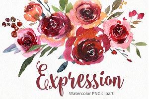 Vintage Watercolor Red Vinous Roses