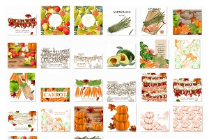 Vector bundle 42 vegetables set