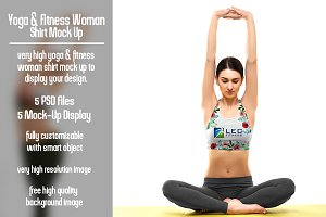 Yoga and Fitness Woman Shirt Mock Up