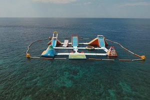 Inflatable water park in the sea. Bali,Indonesia.