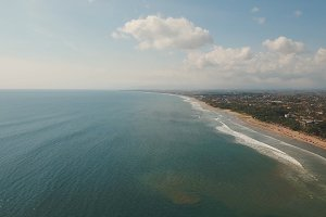 Aerial view beautiful beach, Bali, Kuta.