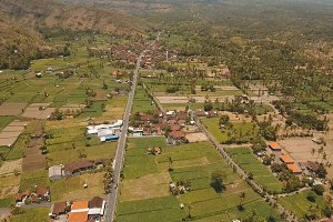 Mountain landscape with valley and village Bali, Indonesia