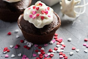 Chocolate muffins with hearts