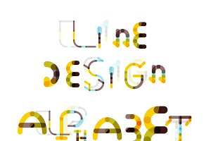 Line design alphabet set 3