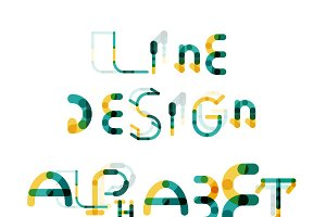 Line design alphabet set 5