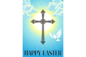Silhouette of ornate cross with dove. Happy Easter concept illustration or greeting card. Religious symbol of faith against cloudy sunrise sky