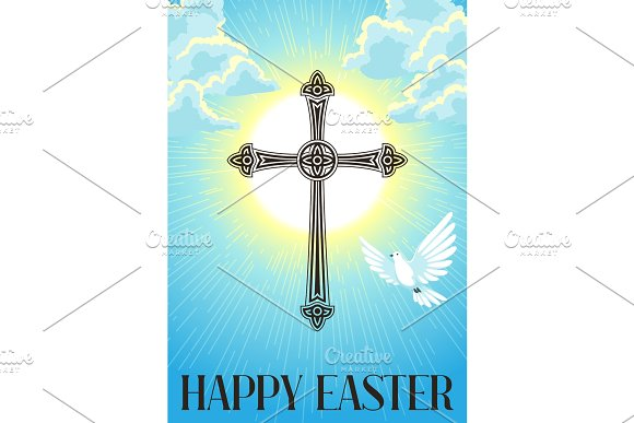 Silhouette Of Ornate Cross With Dove Happy Easter Concept