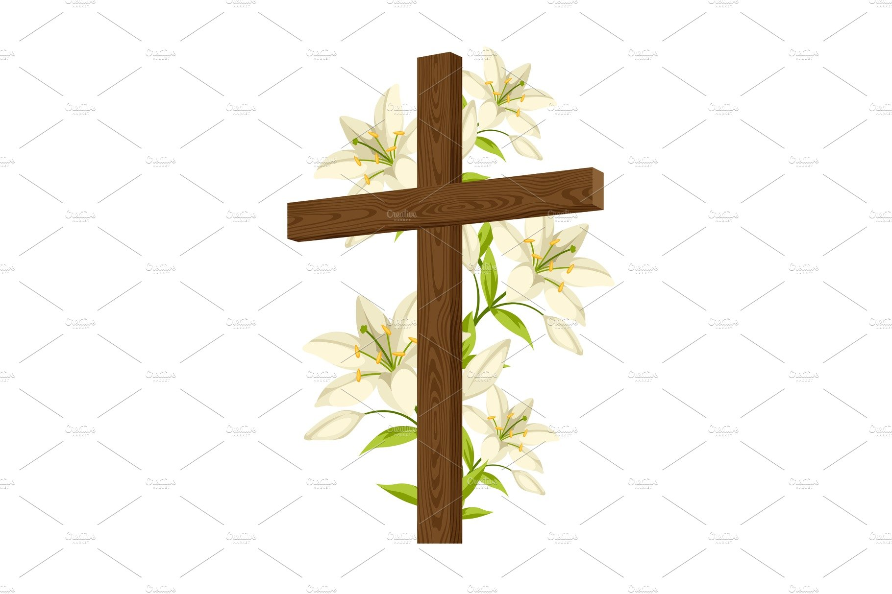 Wooden cross with shroud bible and doves happy easter concept silhouette of wooden cross with lilies happy easter concept illustration biocorpaavc