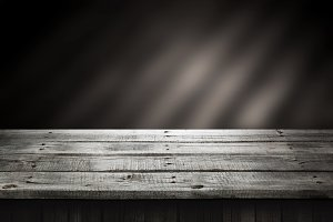 Dark wood table, wooden perspective background for present product