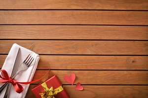 Decorated table with red gift top