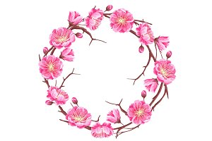 Frame with sakura or cherry blossom. Floral japanese ornament of blooming flowers