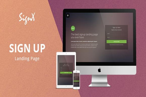 signup landing page template html css themes creative market