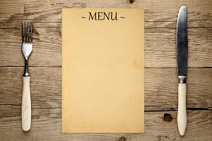 Blank menu, fork and knife