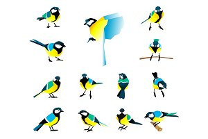 Flat icons of titmouse set. Winter birds in a flat style.