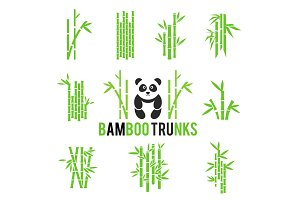 Bamboo vector icons set isolated on white background.