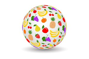 3d globe with fruits texture