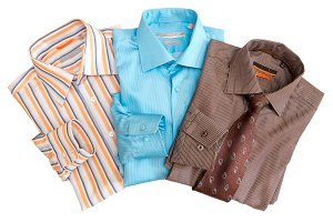 Folded striped men's shirts