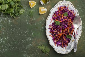 Red cabbage coleslaw salad with carr