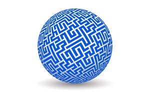 3d globe with maze texture