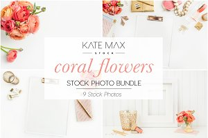 Coral Flowers Stock Photo Bundle