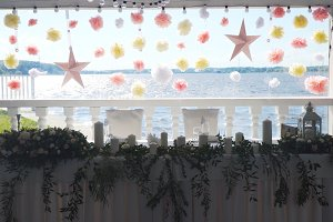 Wedding decor in the banquet hall.