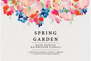 Spring Garden Watercolor Art