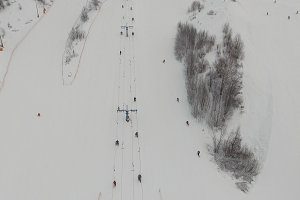 Ski resort in the winter season. Aerial view.