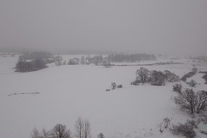 Winter landscape with forest, field, river.Winter landscape